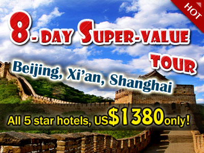 8- day  Super-value China Golden Triangle Tour! All 5 star hotels, US$1299 only!