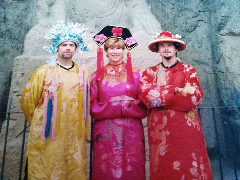Ian and friends dressed in traditonal Chinese costumes