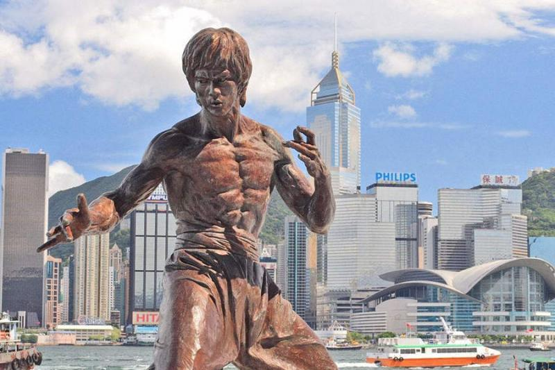 The Statue of Bruce Lee at the Avenue of Stars of Hong Kong