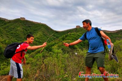 Father and son visiting Beijing Great Wall