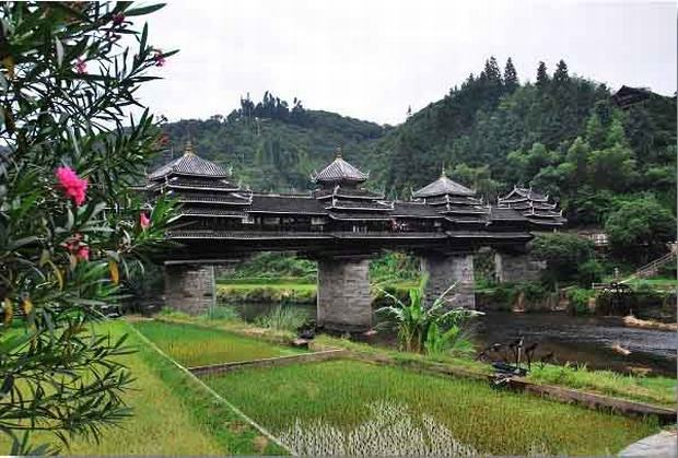 Chengyang Wind and Rain Bridge in Spring