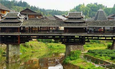 Sanjiang Wind and Rain Bridge and Local People