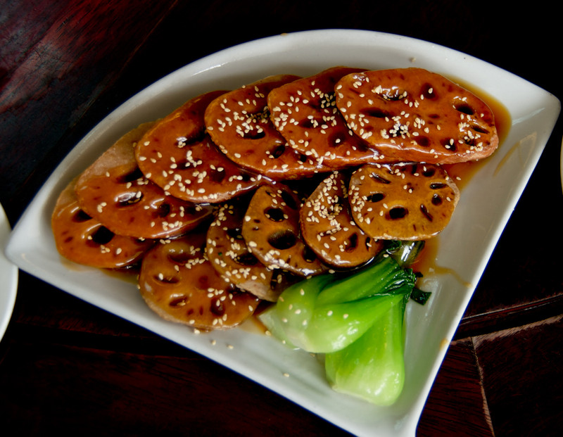 Lotus roots is a popular vegetarain food in China