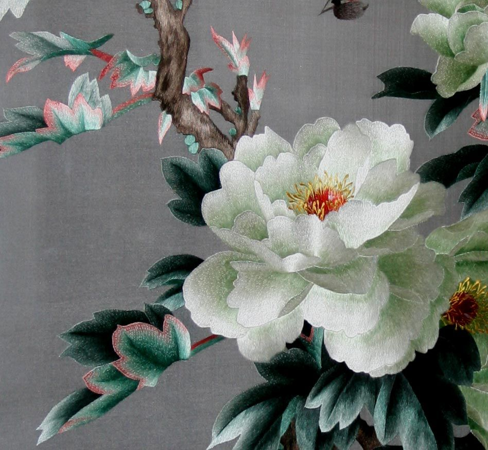 Chinese Embroidery of White Peony