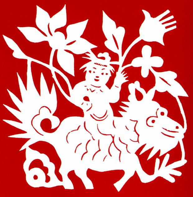 Chinese Paper Cutting of Riding on Dragon