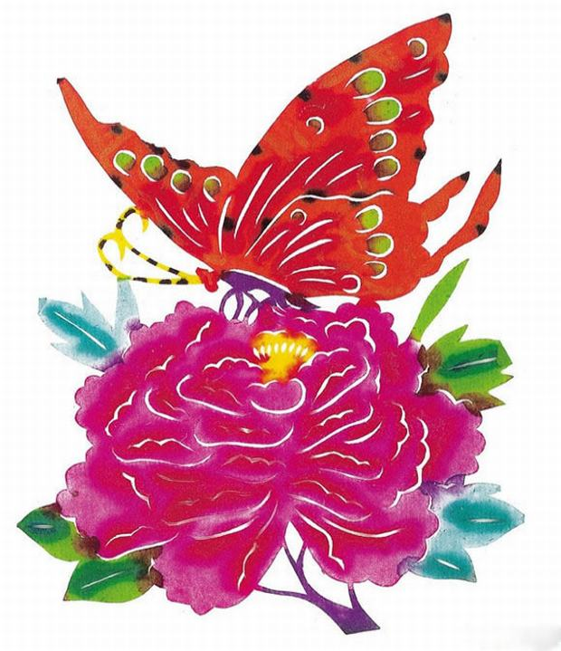 Chinese Paper Cutting Flower And Butterfly