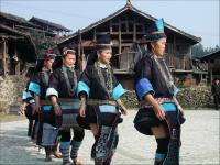 Travel Photos of Dong Minority Women in Native Black Costumes