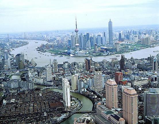 shanghai city view  downstream of yangtze river  yangtze