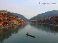 Boat Sailing on Tuo River in Fenghuang Ancient Town