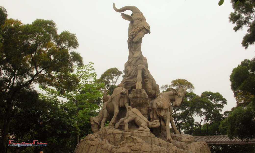 Five Ram Statue with Trees