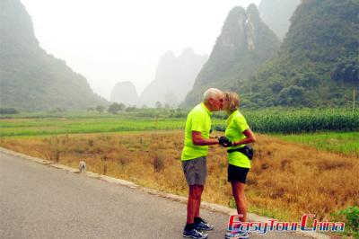 Senior travellers visiting Guilin Yangshuo countryside