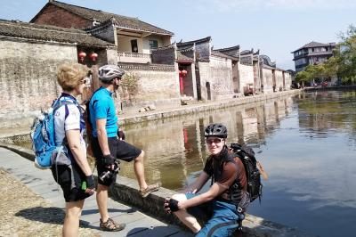 Bike Clients Visiting Old Village of Guilin