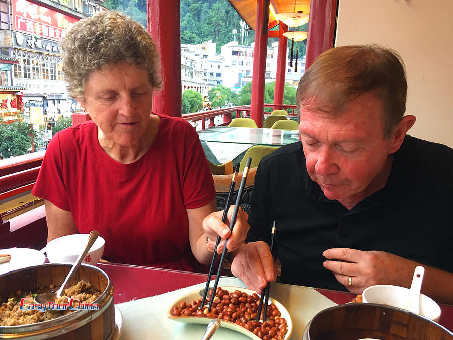Senior travelers dine in Guilin China
