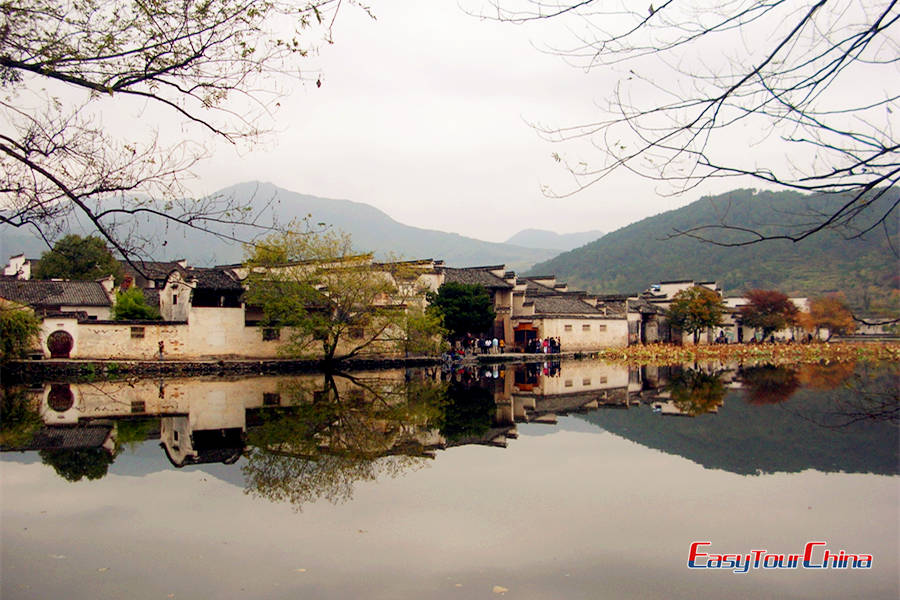 Visit Hongcun village and see the old structures reflected on the lake
