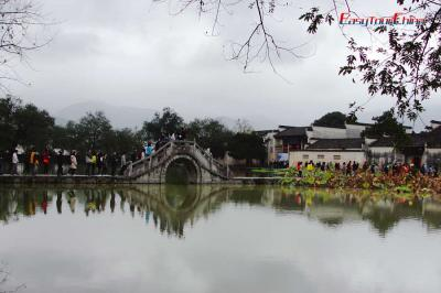 Stone bridge leading to ancient Hongcun Village