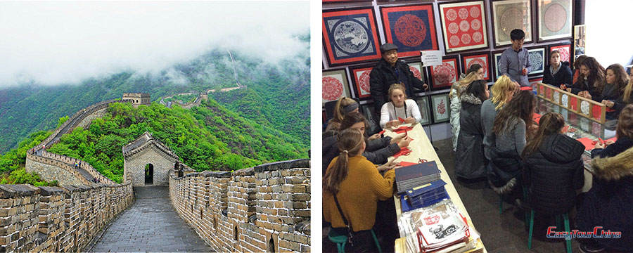 Visit Great Wall and make paper cutting in Beijing
