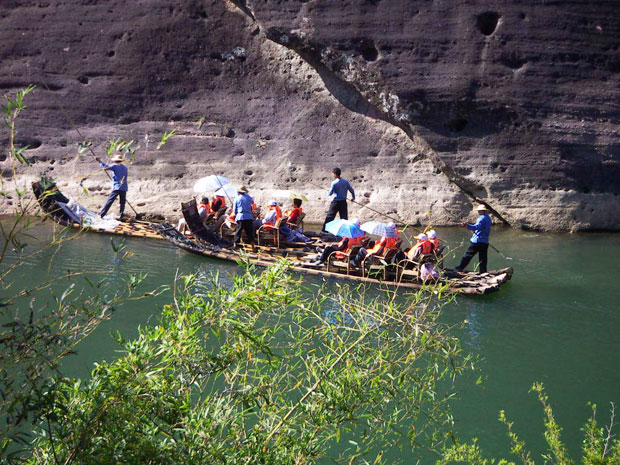 Bamboo rafting at Nine-bend River of Wuyi Mountain