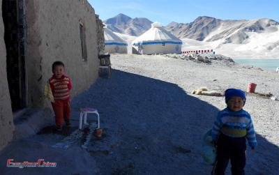 Local Xinjiang Children at Karakul Lake
