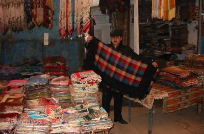 Cloth Stall at Sunday market of Kashgar