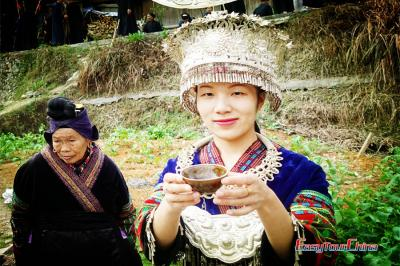 Langde Miao girl holding welcome drink