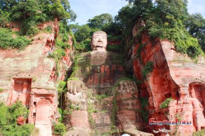 Look up at Leshan Giant Buddha Stone Statue