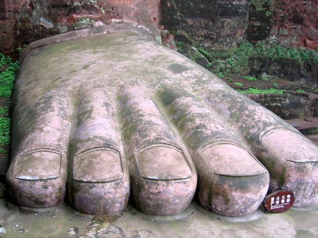 the feet of Leshan Giant Buddha