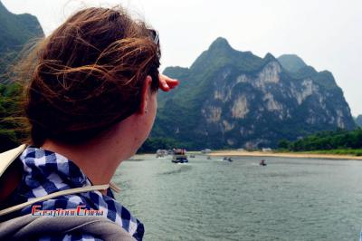 Client enjoying her Li River Cruise