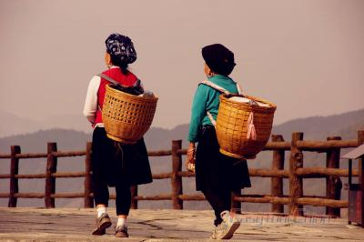 Ethnic People Walking at Longji