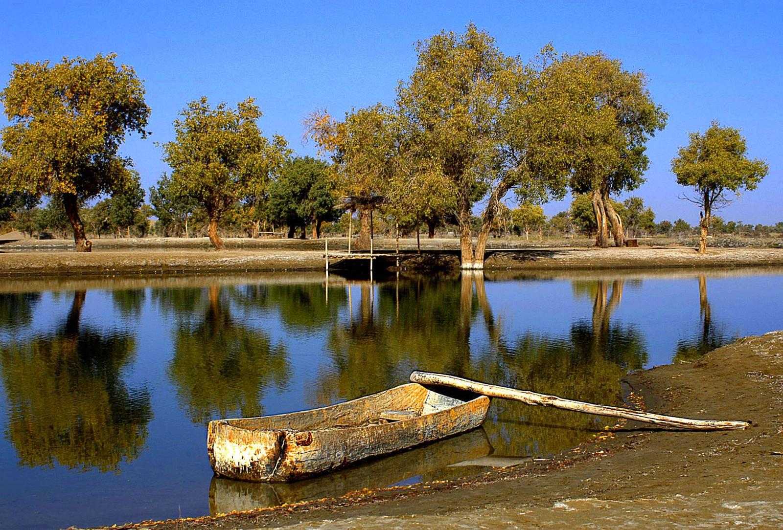 Wooden Boat on River
