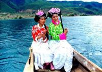 Lugu Lake Mosuo Lady on Boat