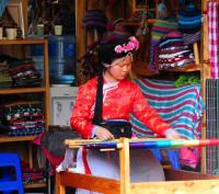 Lugu Lake Mosuo Girl Weaving