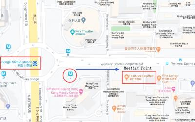 Meeting point map for Mutianyu bus tour