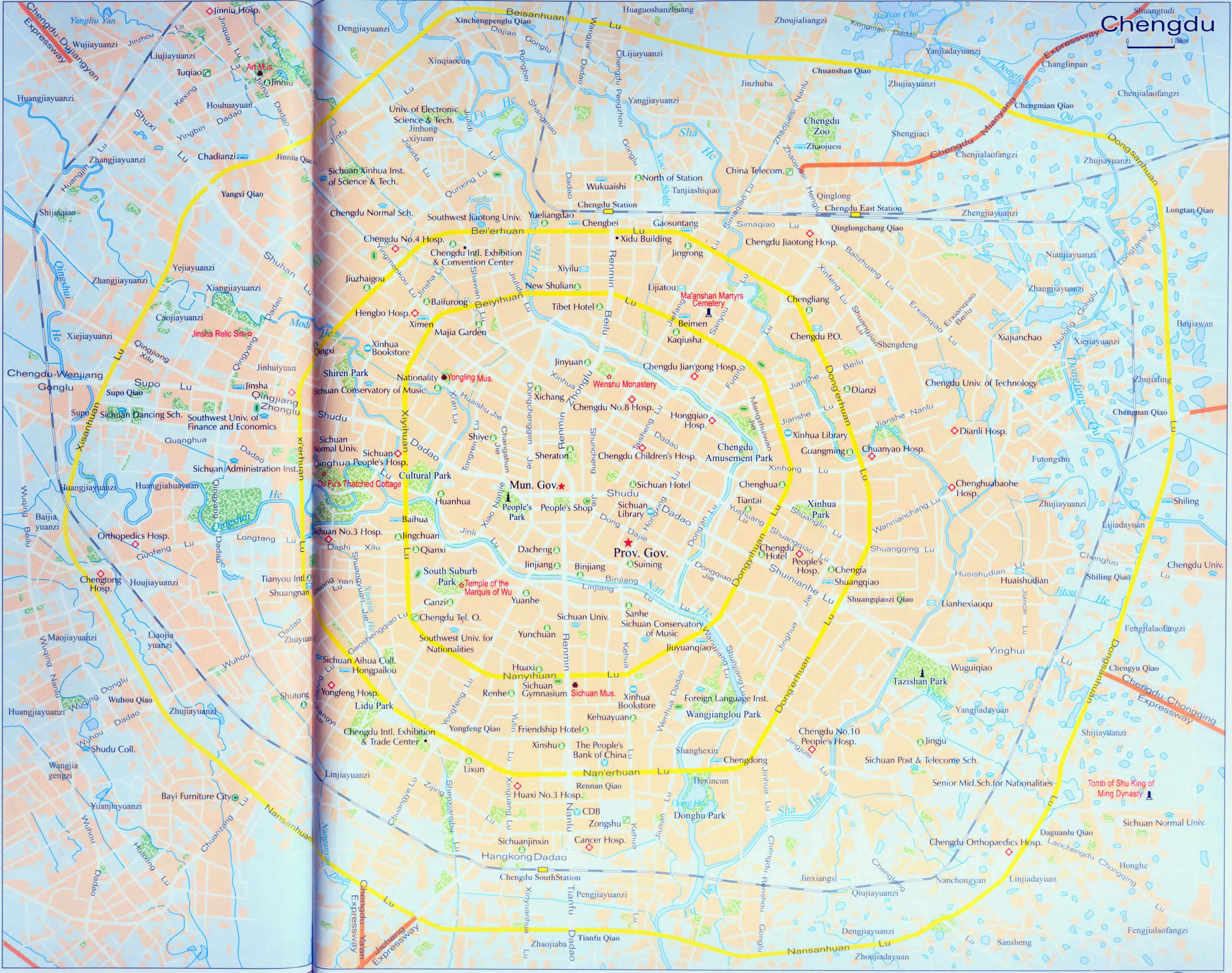 Comprehensive Chengdu Travel Map