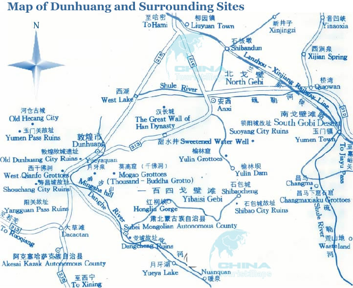 Bilingual Tourist Map of Dunhuang and Surrounding Sites