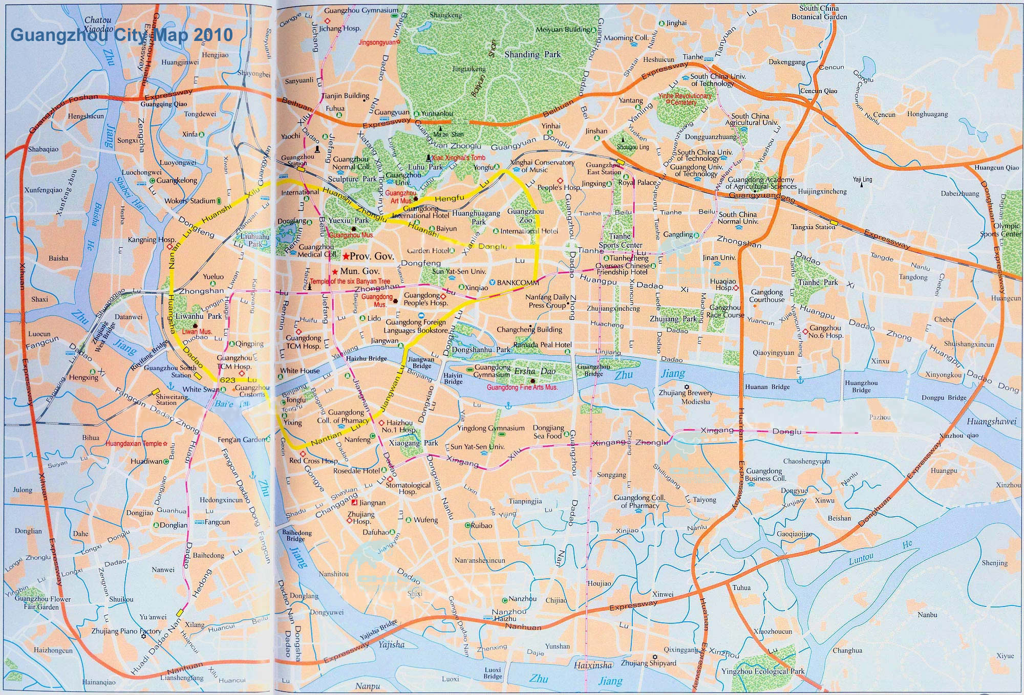 Guangzhou maps guangzhou city map guangzhou tourist map easy guangzhou city map gumiabroncs Image collections