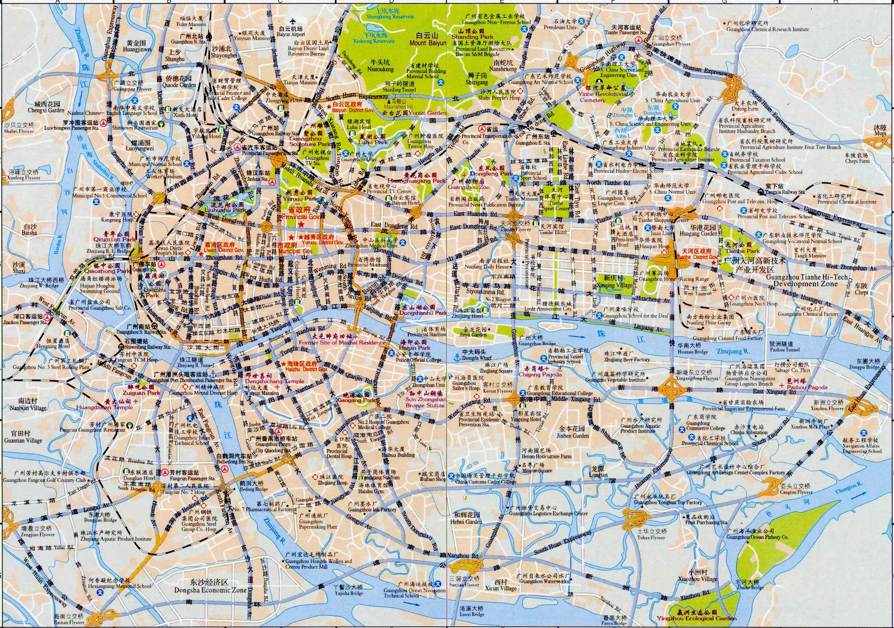Detailed tourist map of guangzhou in english and chinese easy tour detailed tourist map of guangzhou in english and chinese gumiabroncs Gallery