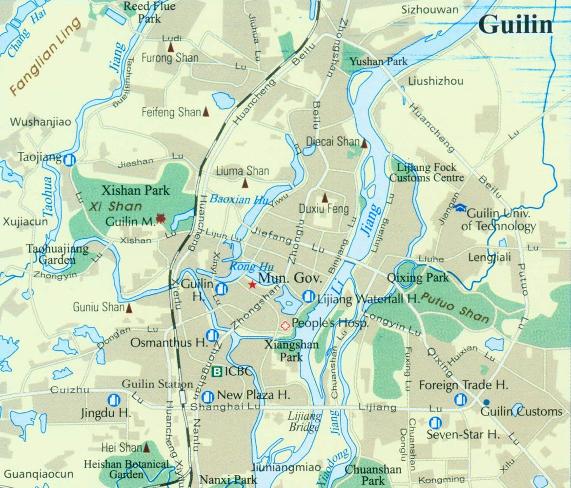 Detailed Guilin Tourist Map