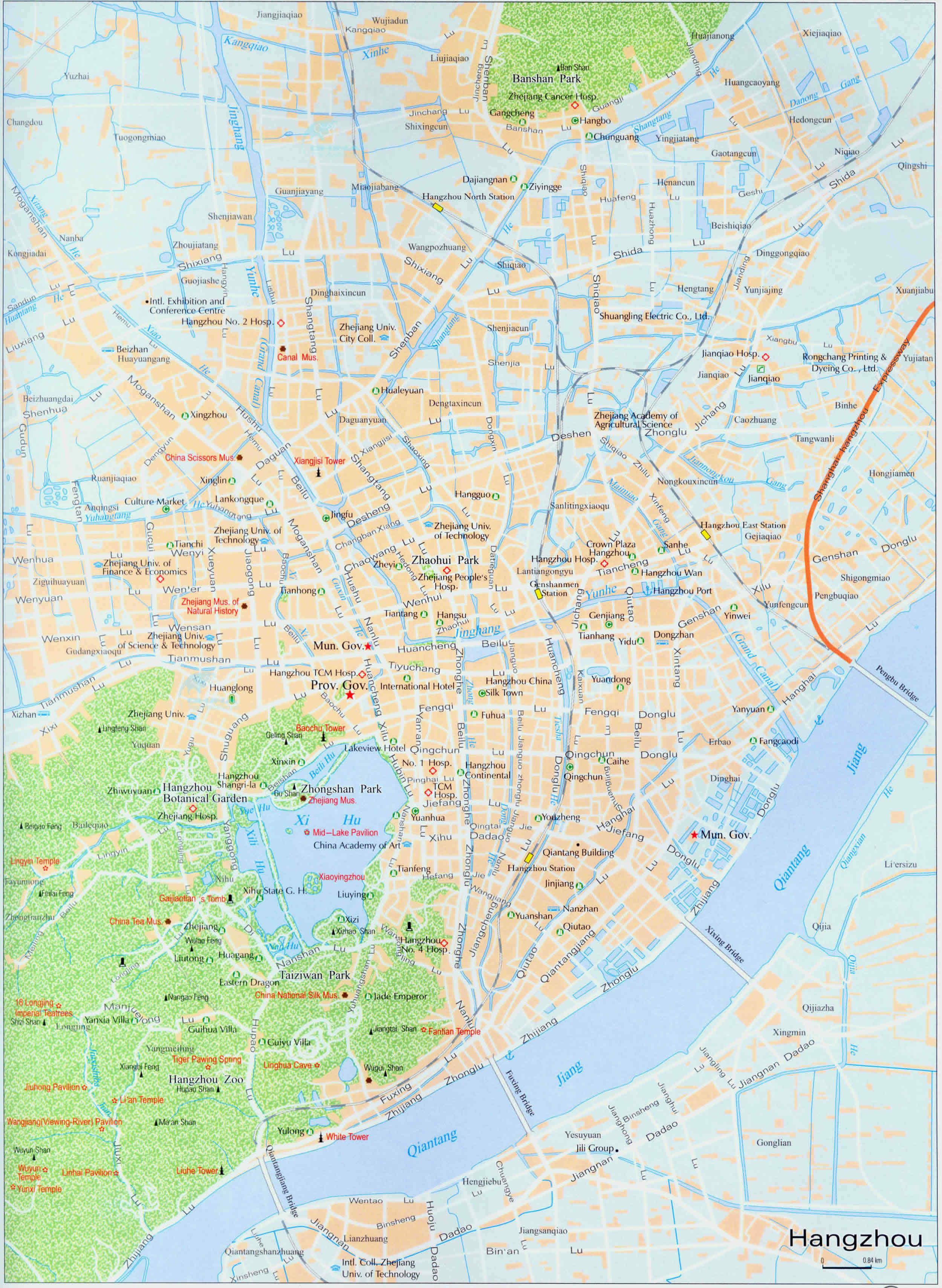 Detailed Hangzhou Tourist Map Hangzhou Tour Tours In