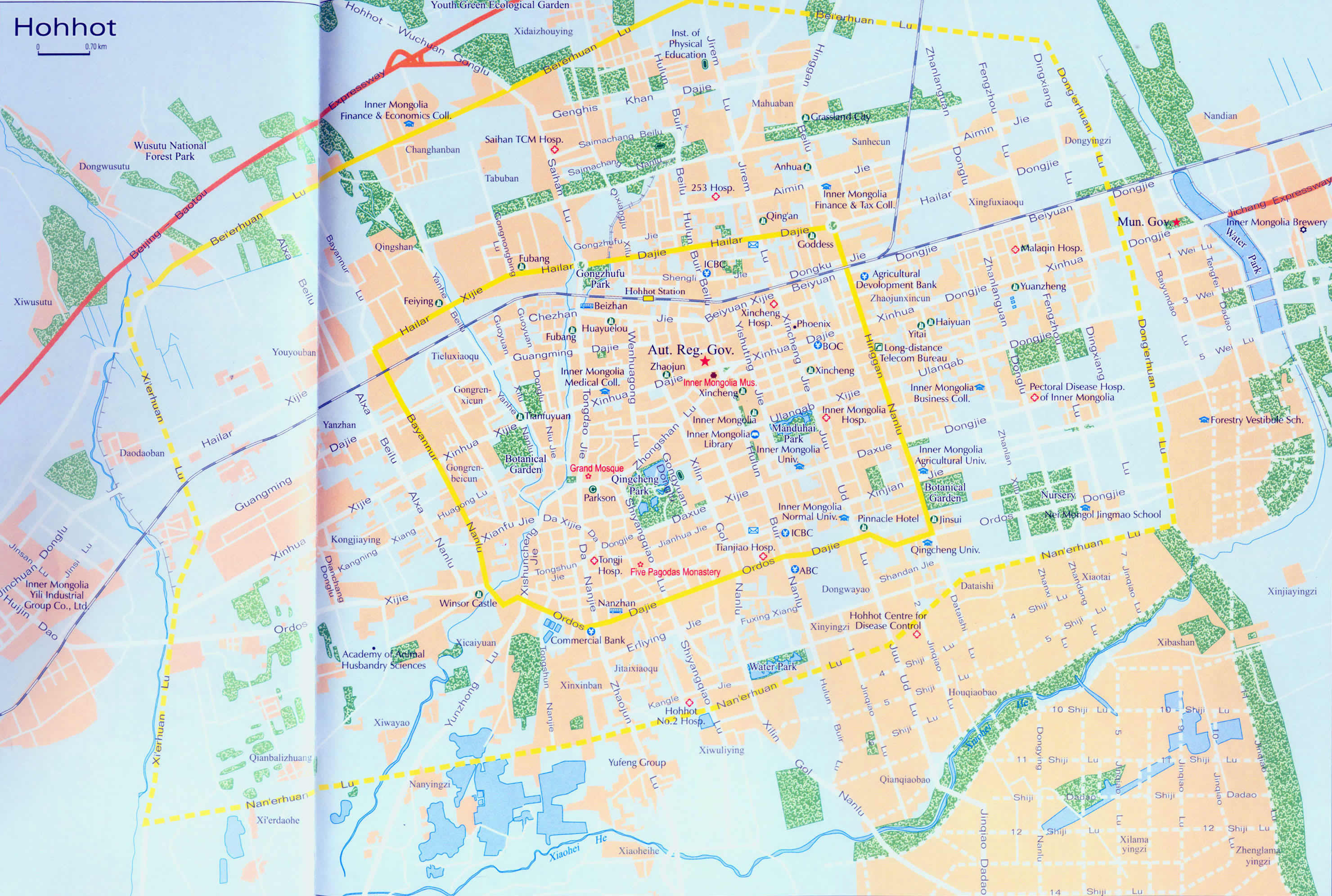 Abc Traffic Map.Detailed Hohhot Traffic Map Map Of Hohhot Hohhot Tour Tours In