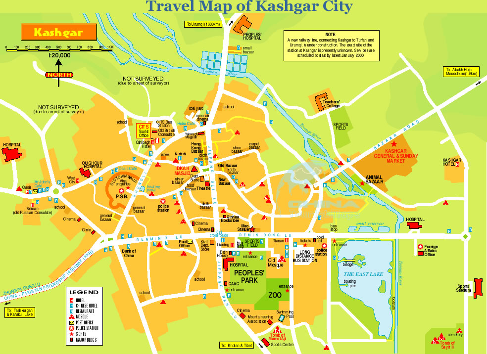 Detailed Travel Map of Kashgar