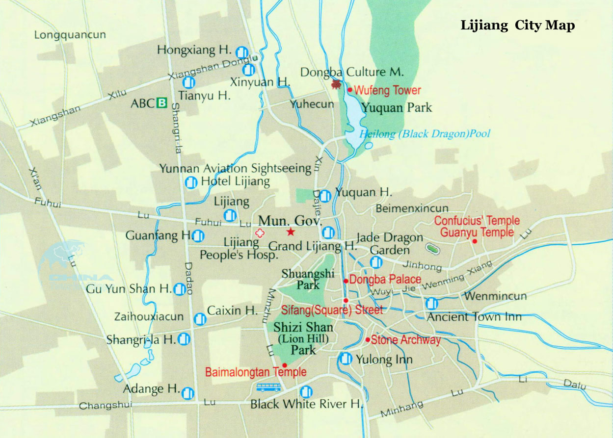 Detailed Tourist Map of Lijiang City
