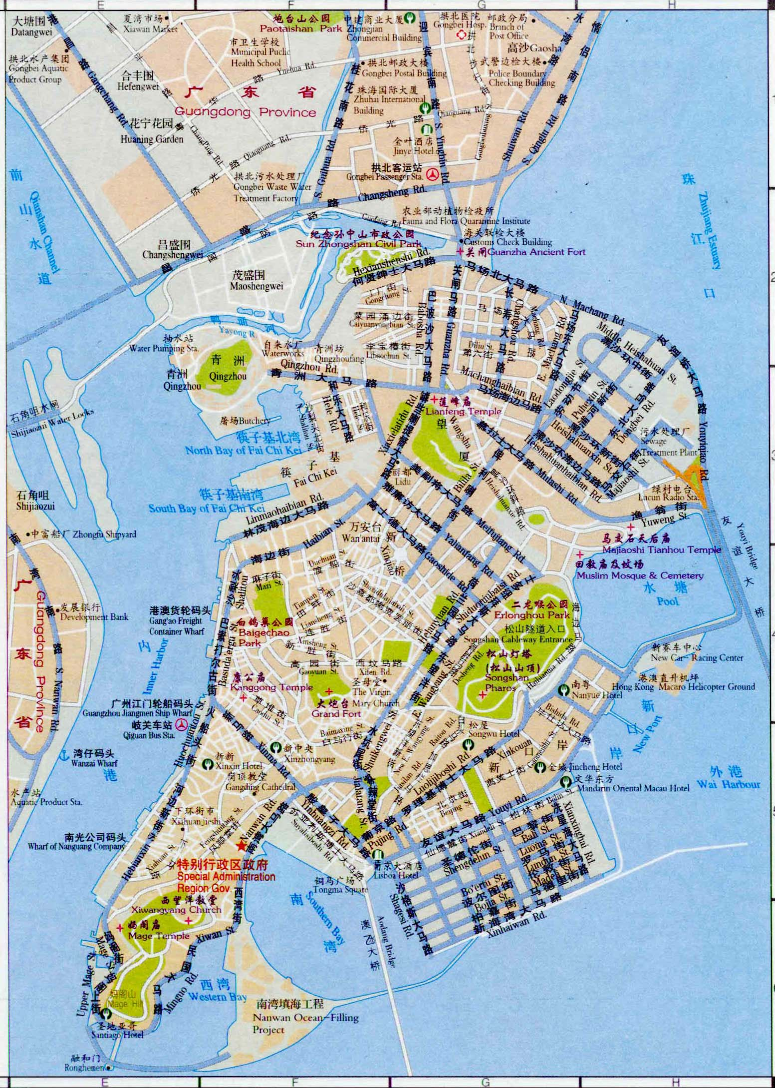 Bilingual ChineseEnglish Tourist Map of Macau Macau tour tours in