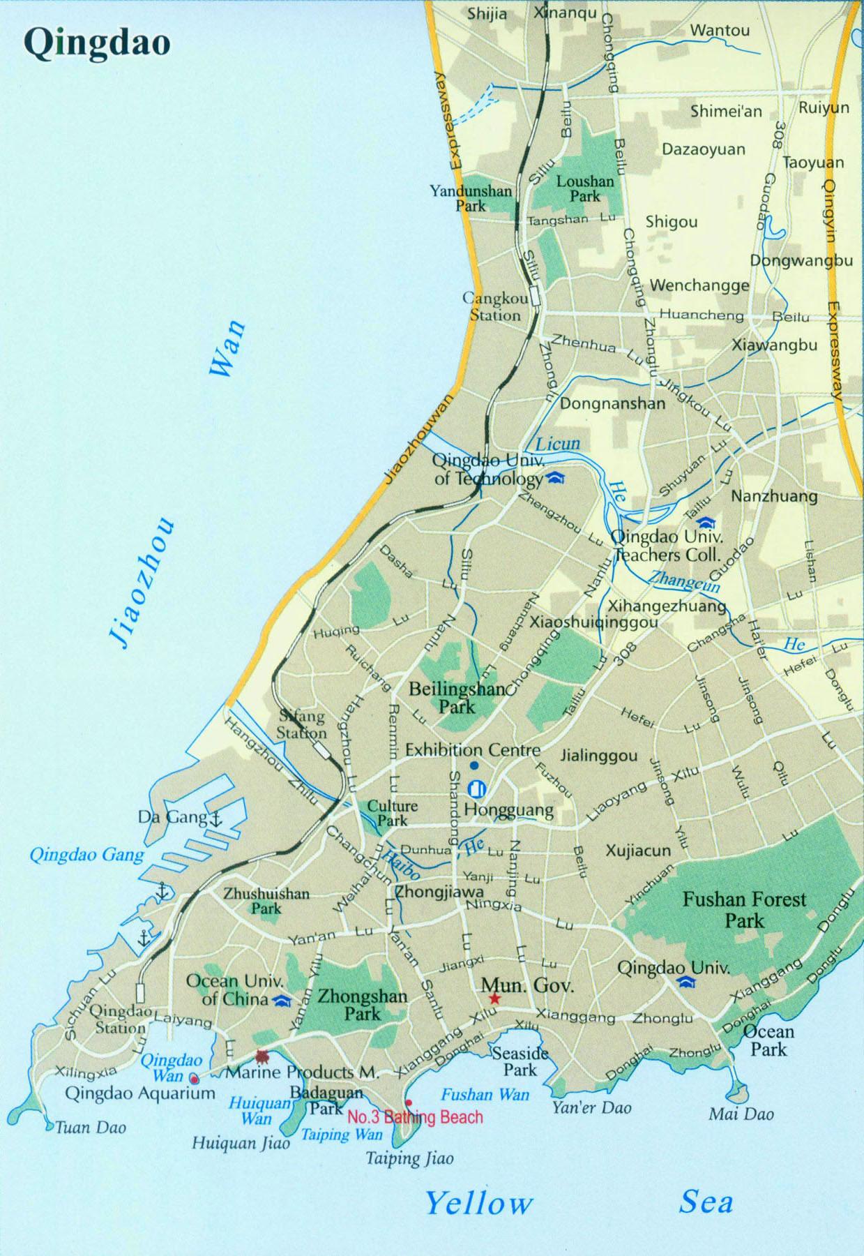 Detailed Map of Qingdao City Qingdao tour tours in Qingdao