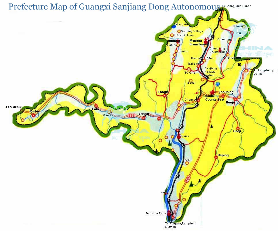 Prefecture Map of Guangxi Sanjiang Dong Autonomous