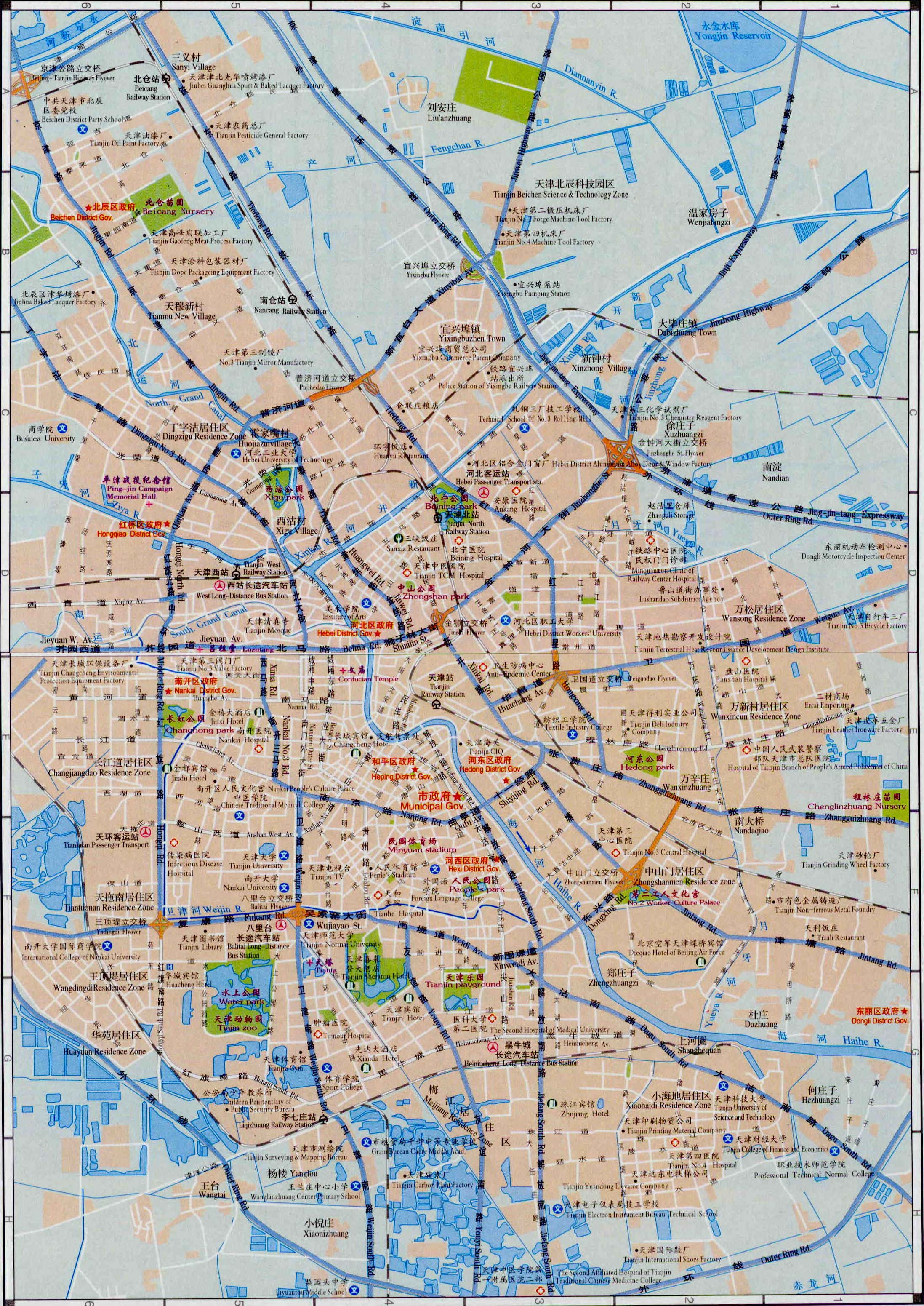 Bilingual chinese english map of tianjin tianjin tour tours in bilingual chinese english map of tianjin gumiabroncs Image collections