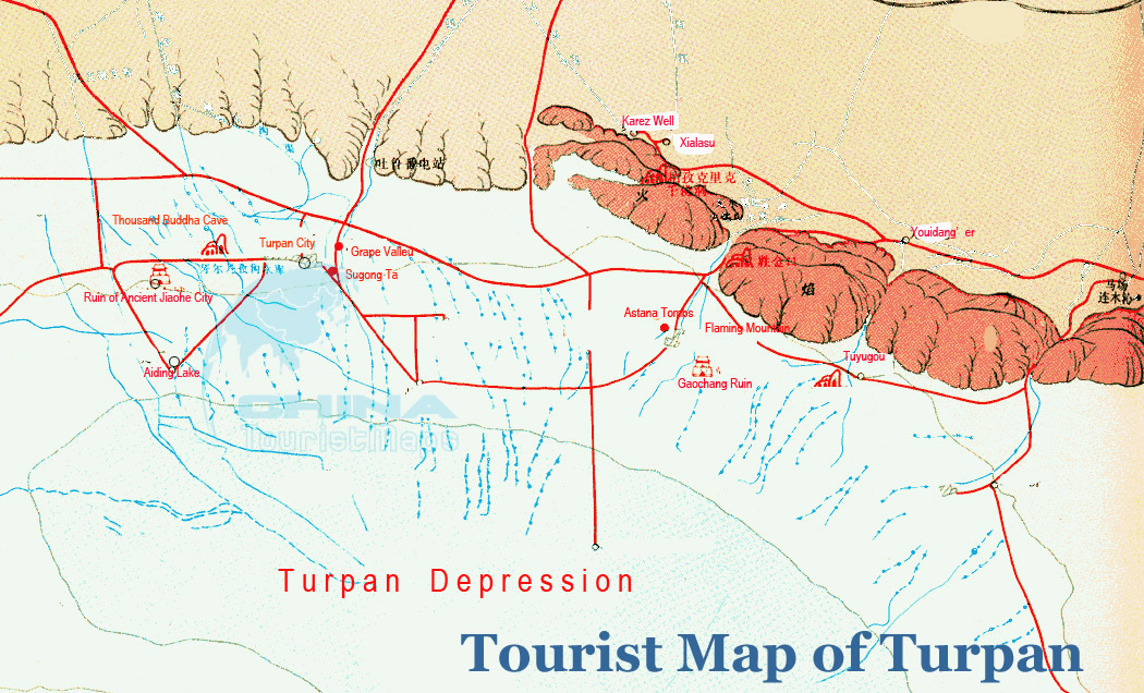 Turpan Tourist Map with Vivid Legends. Turpan tour, tours in Turpan ...
