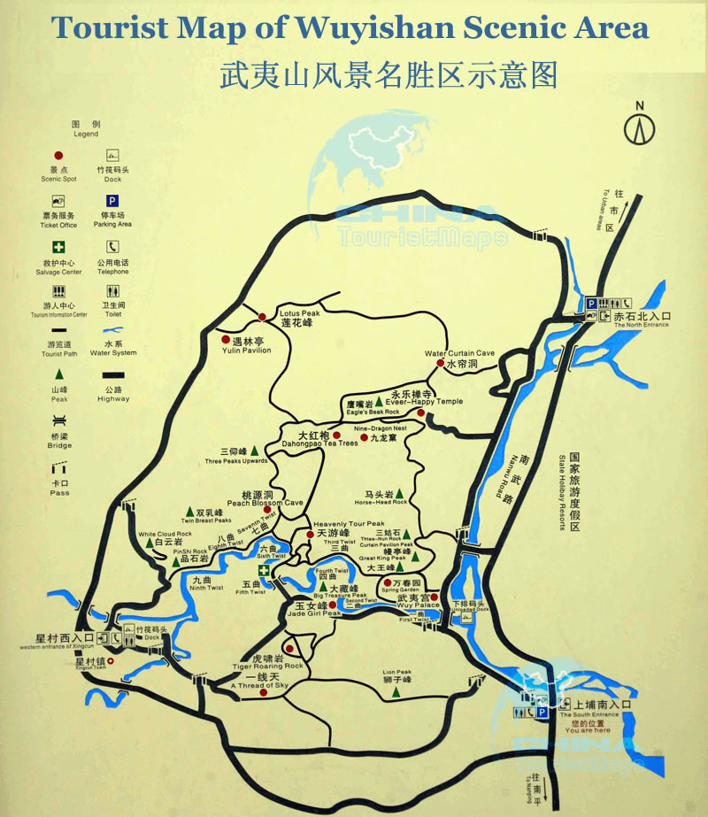 Map Of China And Surrounding Areas.Tourist Map Of Wuyishan Scenic Area Wuyishan Tour Tours In