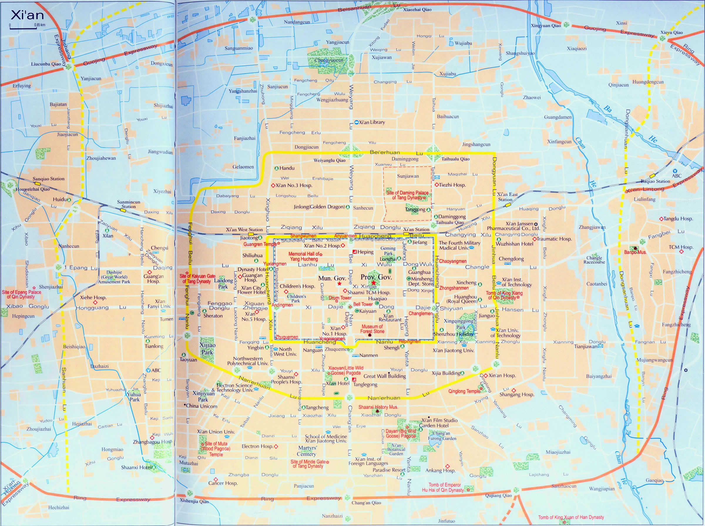 Comprehensive Xian City Map Xian Tour Tours In Xian Xian Travel