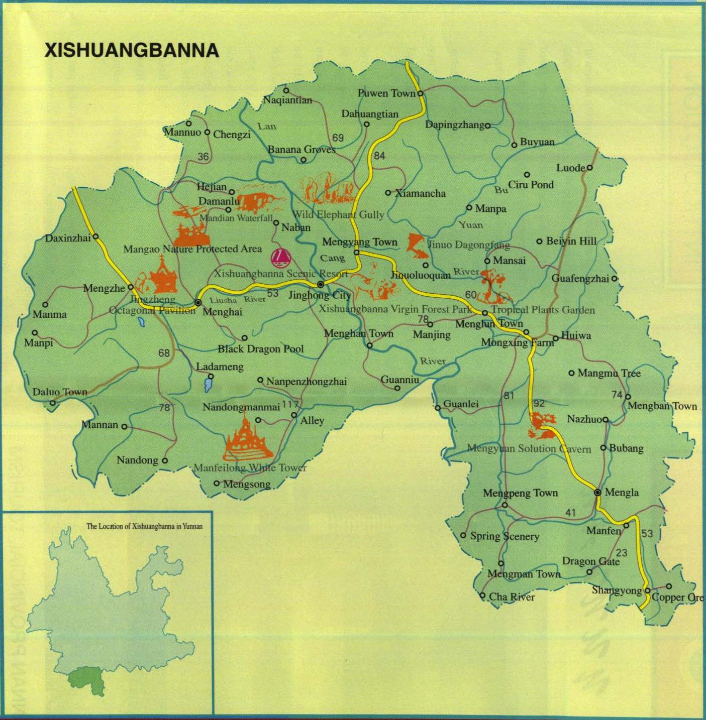 Xishuangbanna Map with Scenic Spots