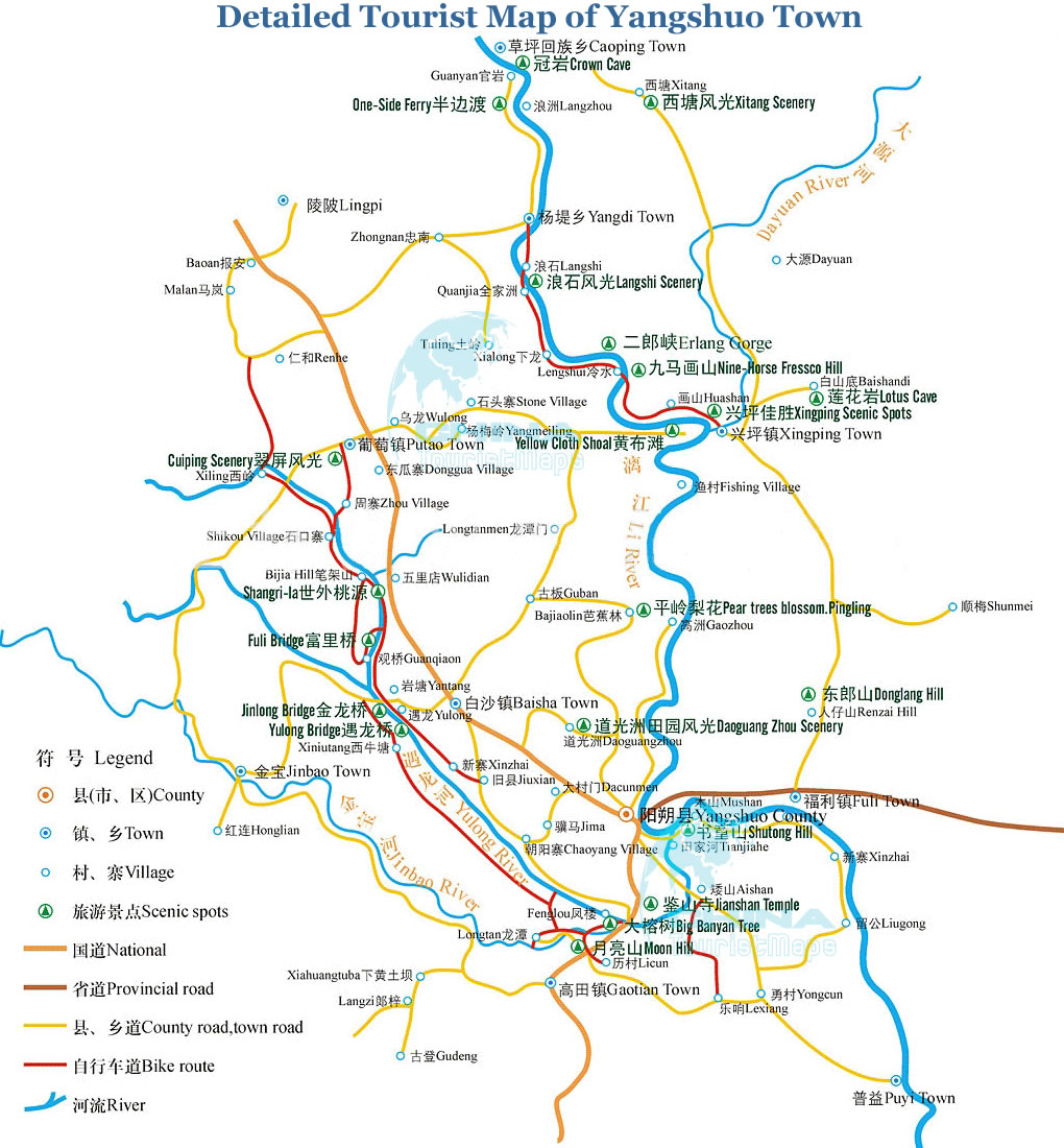 Detailed Tourist Map of Yangshuo Town Yangshuo tour tours in